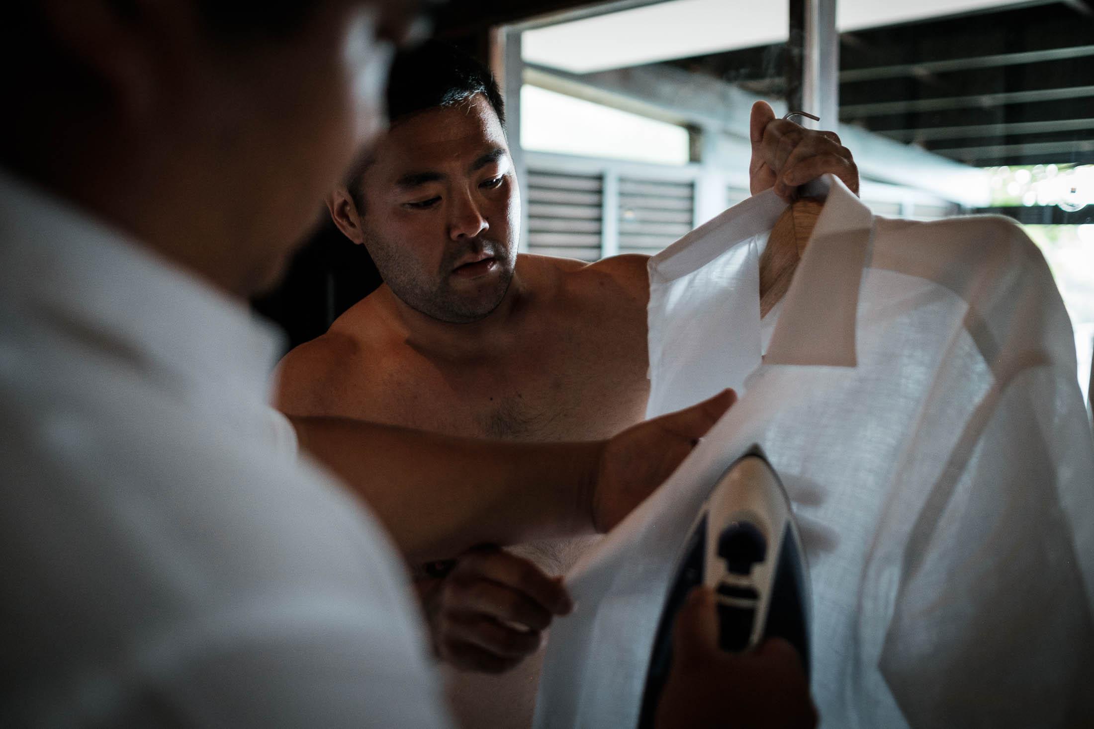 Photographe Mariage Thailande chemise en lin